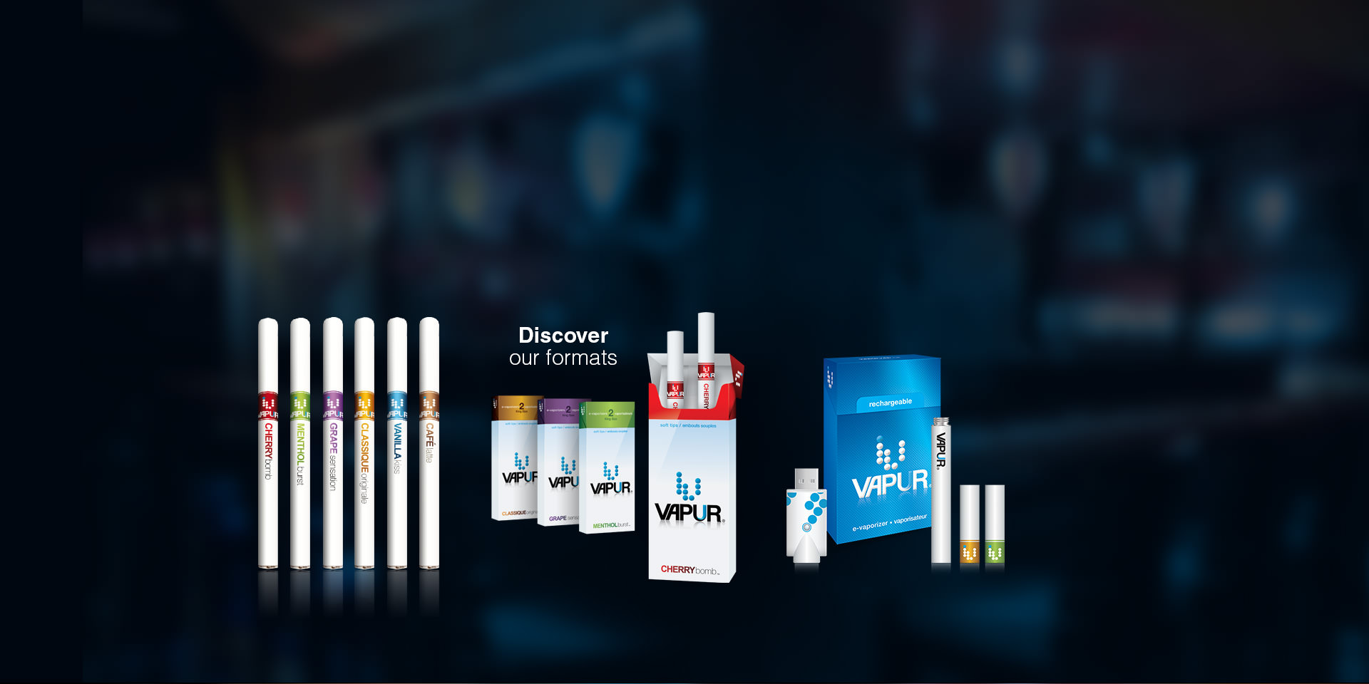 Vap ur day! Try our 6 flavours. Up to 500 doses of flavour.